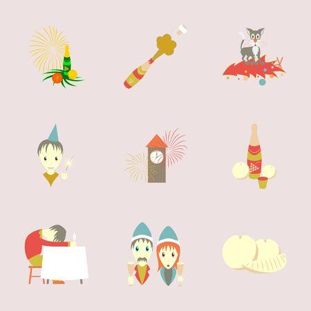 Montage von flachen Illustration Weihnachtsfeier Standard-Bild - 86155512
