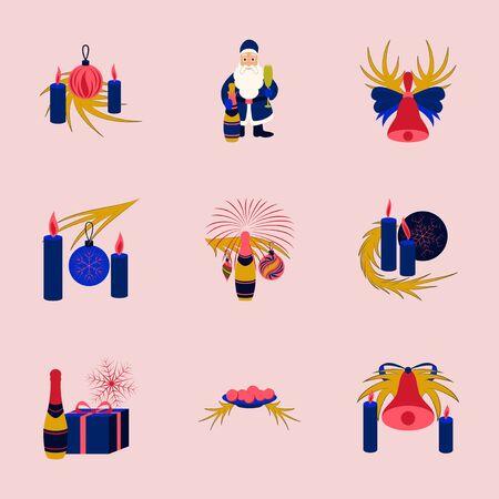 champagne celebration: assembly of flat illustration Christmas tree bells toys Illustration