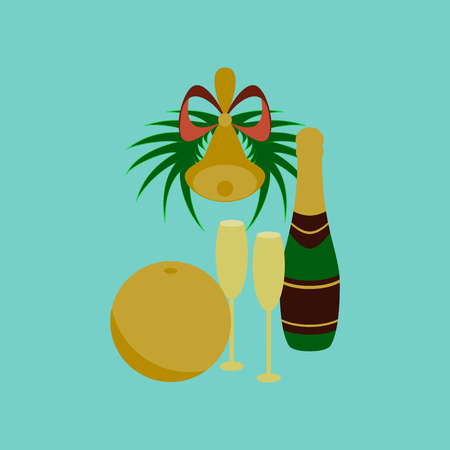 flat illustration on background of champagne bell