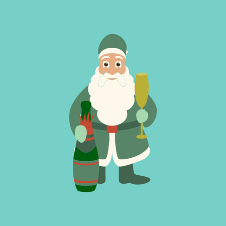 flat illustration on stylish background of Santa Claus
