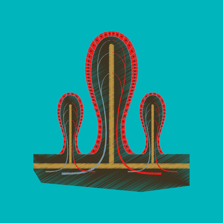 flat shading style icon intestinal villi Illustration