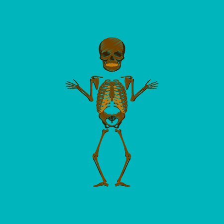 flat shading style icon human skeleton Illustration