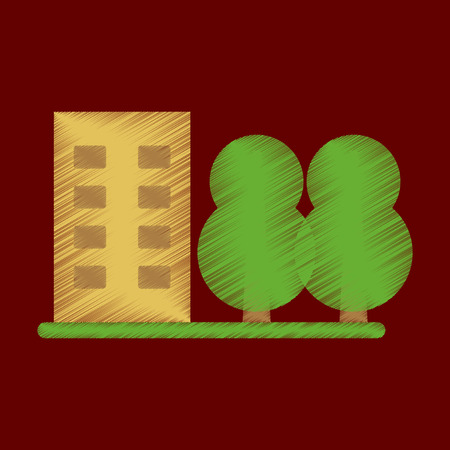 city building: Flat Icon in Shading Style multi-storey building Illustration