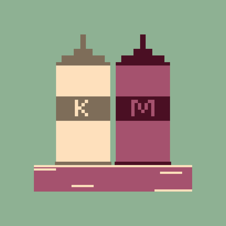 mayonnaise: pixel icon in flat style ketchup and mustard Illustration