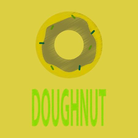 Flat Icon in Shading Style donut logo Illustration