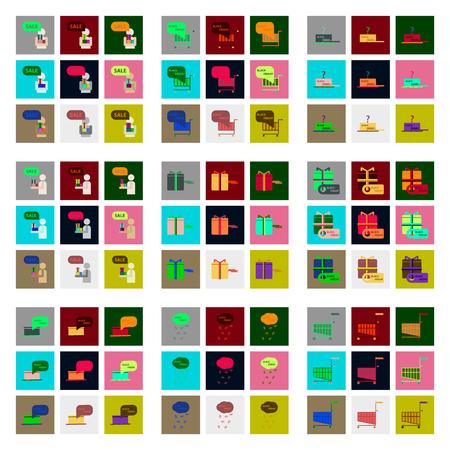 Flat assemblage iconen van Black Friday set