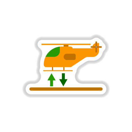 paper sticker on white background Helicopter landing Illustration