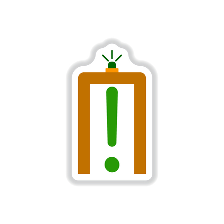 paper background: Paper sticker on white background airport scanner detector Illustration