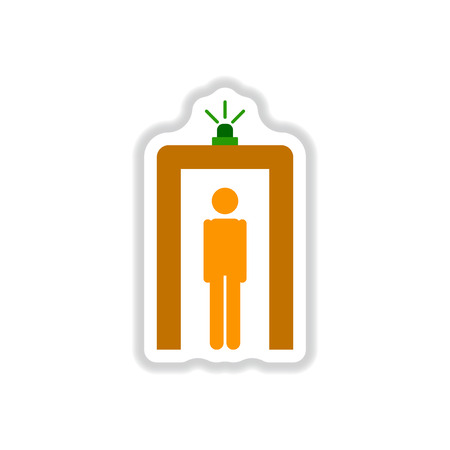 paper background: Paper sticker on white background airport people scanner detector Illustration