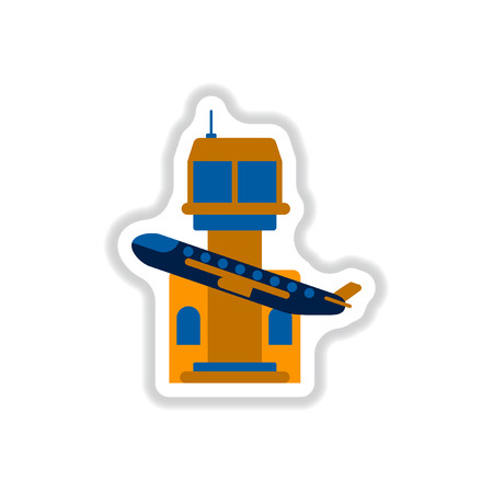 paper background: Paper sticker on white background plane takeoff airport Illustration