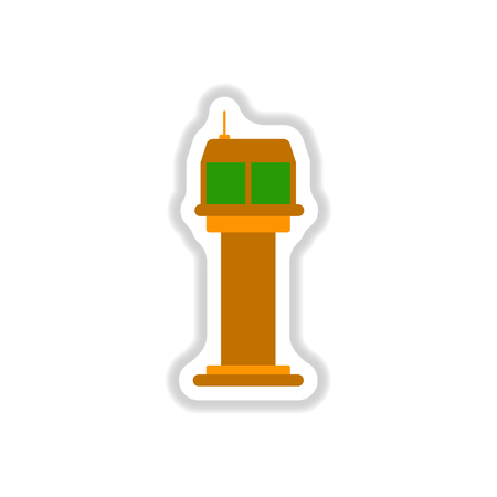 paper background: Paper sticker on white background airport control tower Illustration