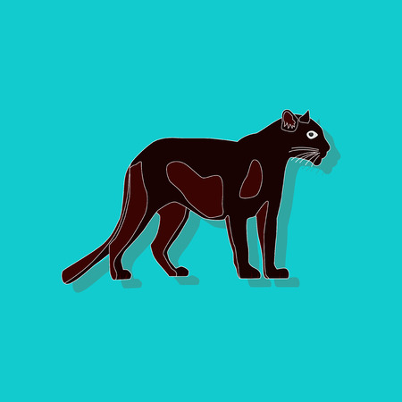 paper background: Panther paper sticker on stylish teal background. Illustration