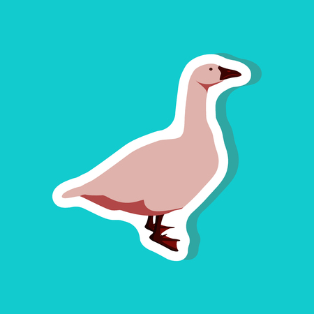 paper background: Goose paper sticker on stylish teal background