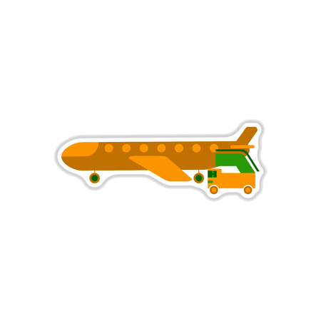 paper background: Paper sticker on white background airplane gangway. Illustration