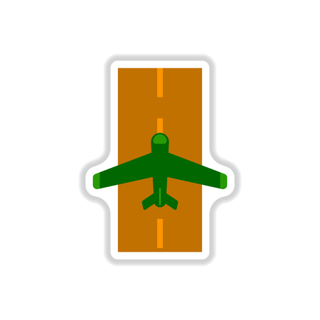 paper background: Paper sticker on white background airplane runway.