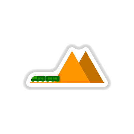 paper background: Paper sticker on white background mountain train. Illustration