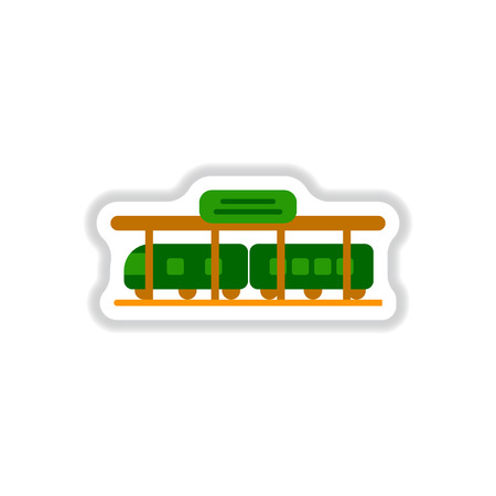 paper background: Paper sticker on white background Train Station.