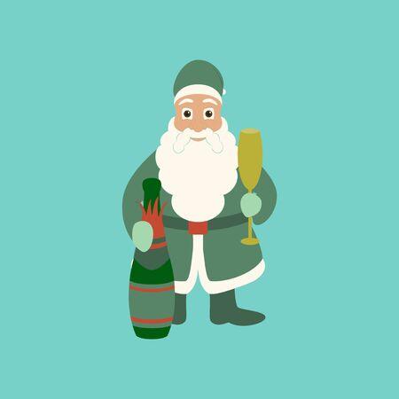 flat illustration on stylish background of Santa Claus