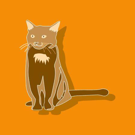 cat pet paper sticker on stylish background