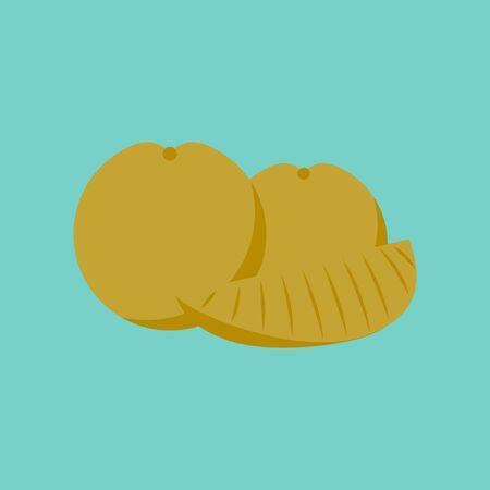 flat illustration on background of orange slice Stock Photo
