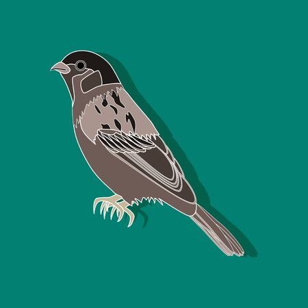 cute: sparrow paper sticker on stylish background Stock Photo