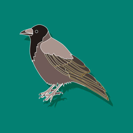 raven paper sticker on stylish background Stock Photo