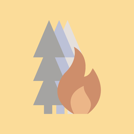 Flat icon on  nature forest fire