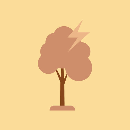 Flat icon on  nature lightning tree