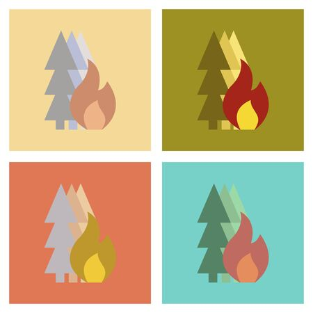 Assembly of flat icons nature forest fire