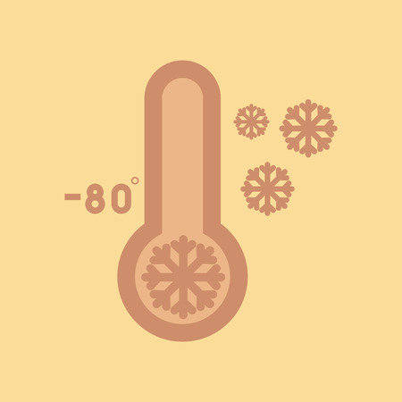 Flat icon on  nature thermometer cold weather Illustration