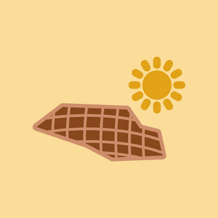 Flat icon on nature solar panels