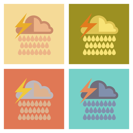 Assembly of flat icons nature thunderstorm rain cloud Illustration
