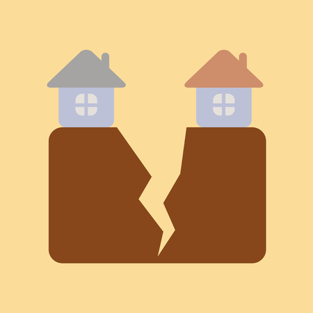 residence: Flat icon on nature house earthquake Illustration