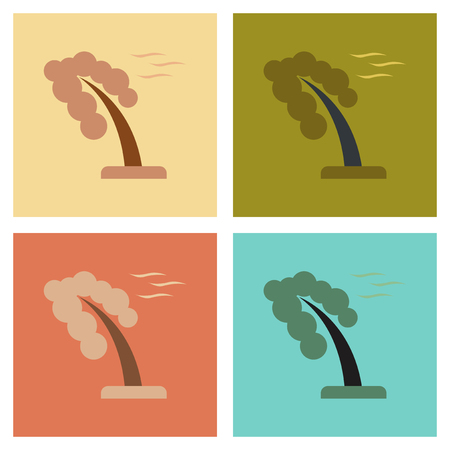 assembly flat icons nature strong wind tree