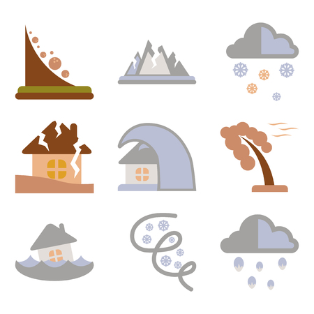 assembly flat icons natural disasters