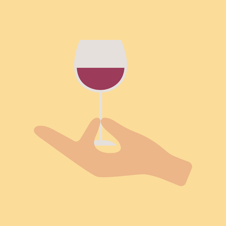 Hand holding a wine glass icon.