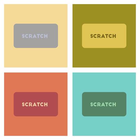 조립 평면 아이콘 포커 스크래치 카드