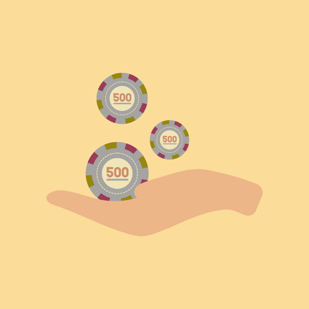 flat icon on stylish background Casino chips in hand
