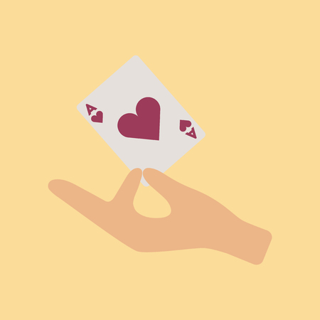 ace of hearts: flat icon on stylish background hand playing cards Illustration