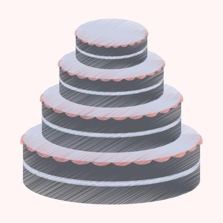 A flat shading style icon wedding cake.