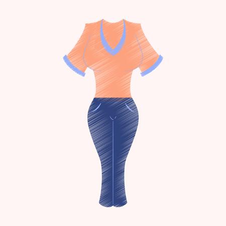 flat shading style icon Women pants and shirt