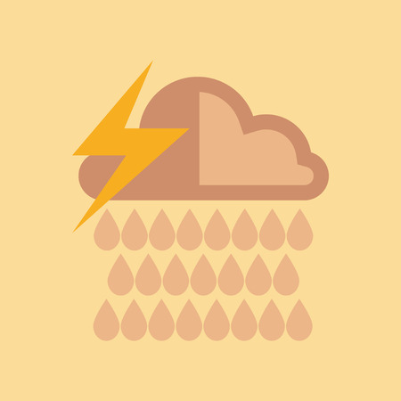 flat icon on stylish background thunderstorm rain cloud Illustration