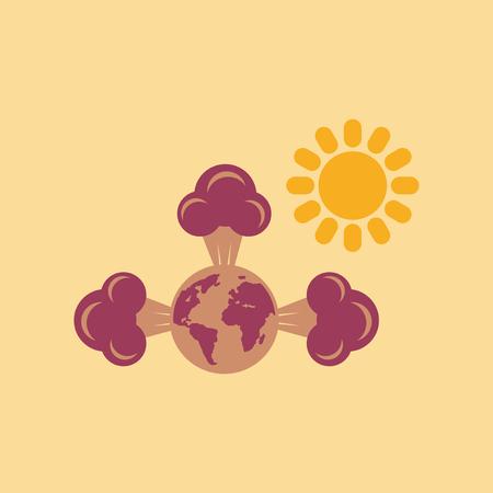 flat icon on stylish background earth greenhouse effect Illustration