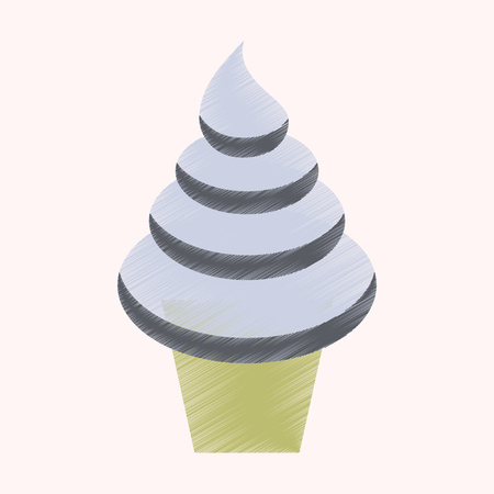 flat shading style icon Ice cream cone