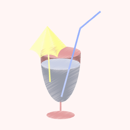 flat shading style icon cocktail Illustration