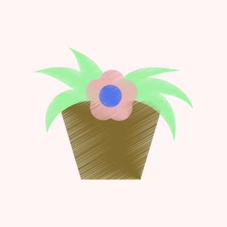 flat shading style icon Flowering pot Illustration
