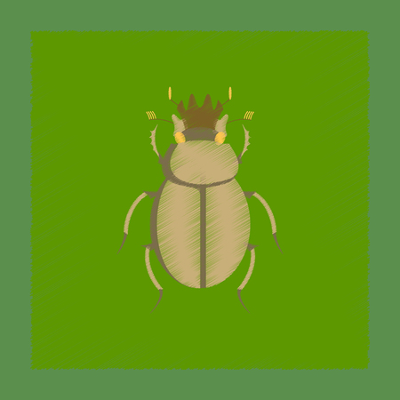 flat shading style illustration of bug scarab Banco de Imagens