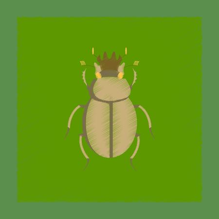 flat shading style illustration of bug scarab Stock Photo