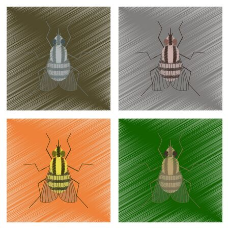 assembly flat shading style illustration insect fly Иллюстрация