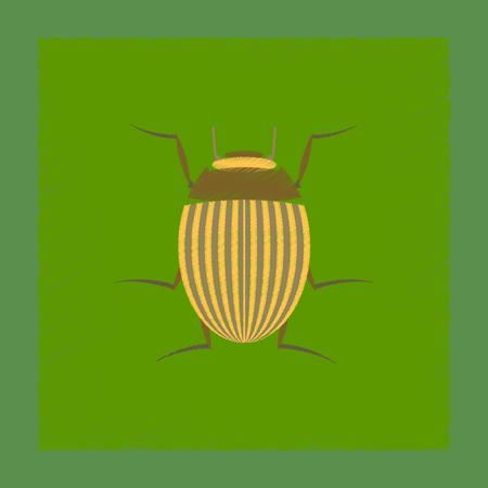 Illustration de style d'ombre plate coléoptère du Colorado Banque d'images - 87862212